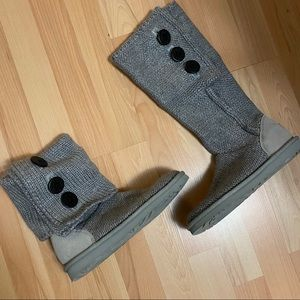 UGG Grey Purl Knit Boots US 7/EUR 38